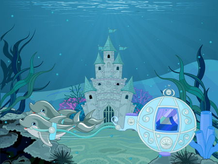 ocean background: Illustration of fairytale dolphin carriage on ocean background with castle