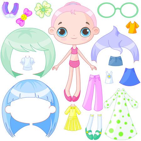 Illustration of cute dress up doll Vector