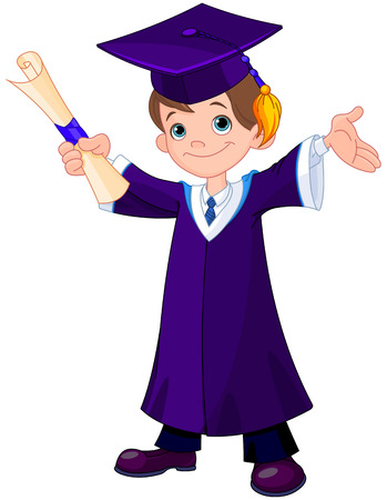 Illustration of cute boy graduates Çizim