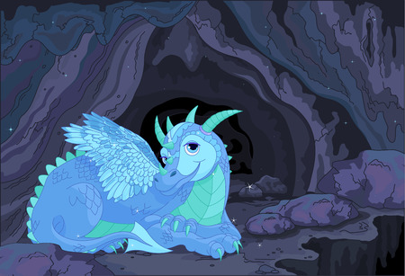 cute dragon: Illustration of a lady dragon on fairy cave background