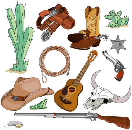 rodeo americano: Varios vaquero vendimia objetos occidentales establecen Vectores