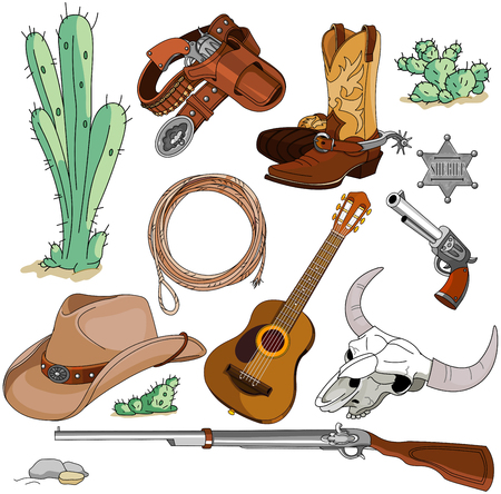 cowboy gun: Various vintage cowboy western objects set