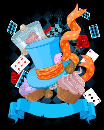 Wonderland top hat and cupcakes background Illustration