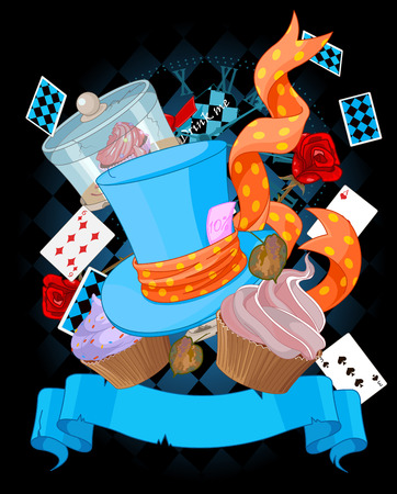 Alice: Wonderland top hat and cupcakes background Illustration