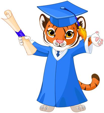 逗人喜爱的老虎毕业生的例证