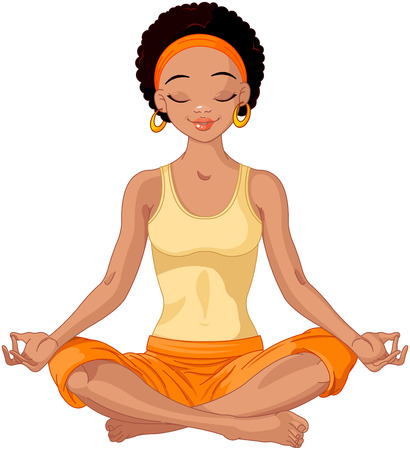 meditate: Beautiful girl doing yoga meditation