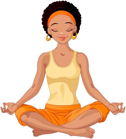 mujer meditando: Muchacha hermosa que hace la meditaci�n del yoga
