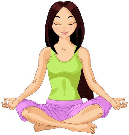 yoga meditation: Bella ragazza facendo yoga meditazione Vettoriali