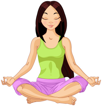 Beautiful girl doing yoga meditation