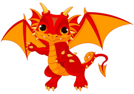 Illustration of cute cartoon baby dragon Ilustracja