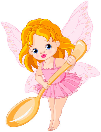 Illustration of cute little fairy holds gold spoon Illustration