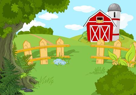 granary: Illustration of idyllic rural landscape Illustration