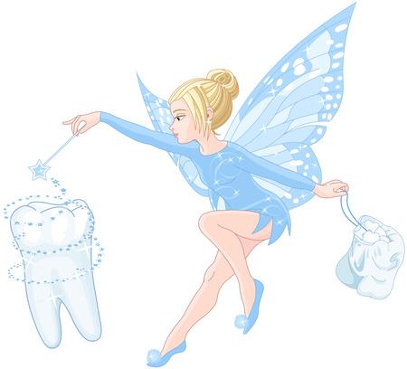 fee zauberstab: Illustration des l�chelnden netten Zahnfee Illustration