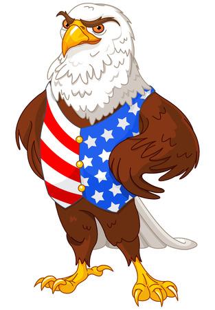 미국 국기 조끼를 입고 자랑 아메리칸이 글의 그림 일러스트
