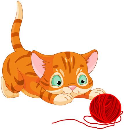 gato caricatura: Ilustración de lindo gatito jugando con lana Vectores