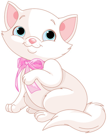 Illustration of adorable white kitten Vectores