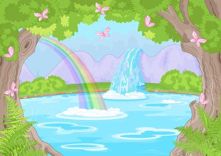 插圖的童話景觀與神話般的瀑布 向量圖像