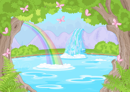 fairy cartoon: Illustration of fairy landscape with Fabulous Waterfall