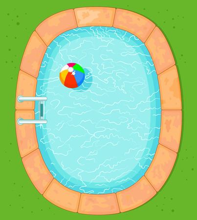 swimming pool water: Illustration of top view pool