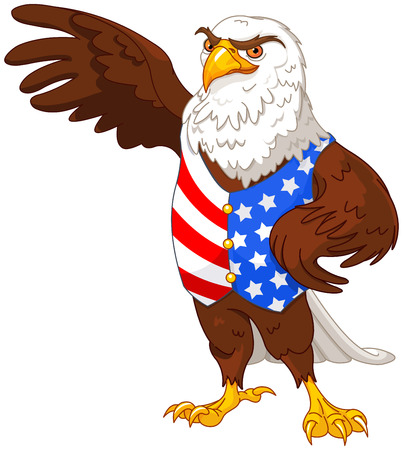 eagle symbol: Illustration of proud American eagle wearing American flag vest Illustration