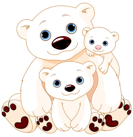 polar: Illustration of Mommy and Daddy bears with their babies