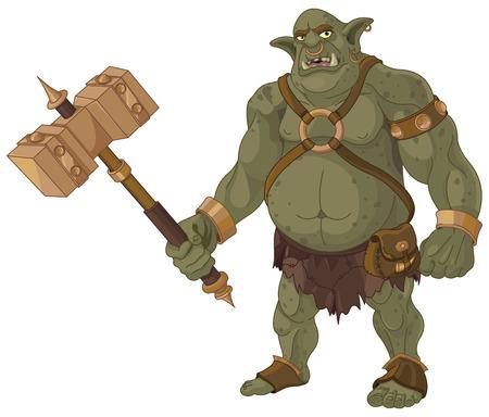 Grande troll grasso con il legno martello