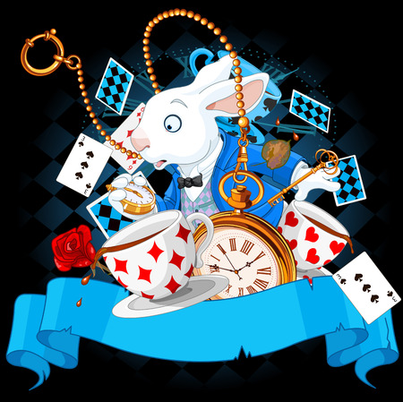 alice: Illustration of wonderland bunny with design elements