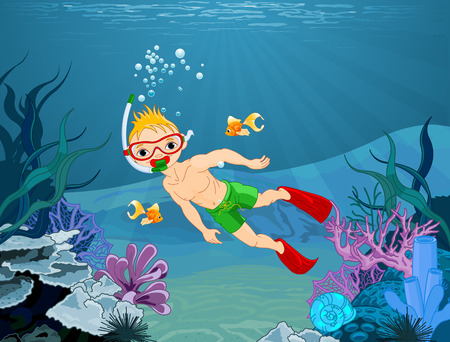 floating: Illustration of cute diver boy