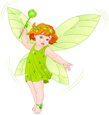 butterfly myth: Illustration of a summer baby fairy in flight