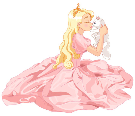 Fairytale Princess is kissing a white cat Stock Illustratie