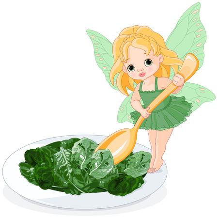 espinaca: Ilustración de la espinaca de hadas con el plato de ensalada de espinacas Vectores