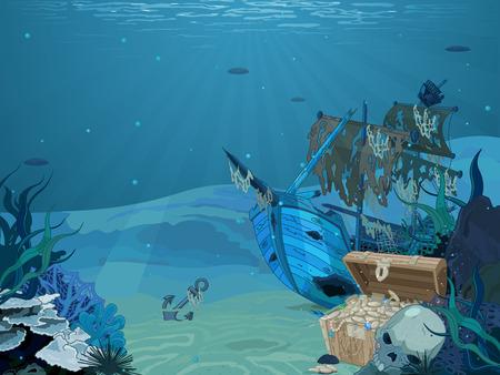 Illustratie van gezonken zeilboot op zeebodem achtergrond