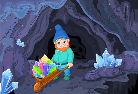 Illustratie van gnome draagt een kruiwagen vol met kwarts kristallen in de buurt van de grot