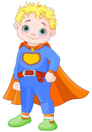 little boy cartoon: Illustration of super hero boy Illustration