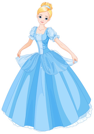 Illustration beautiful girl dressed ball gown Vettoriali