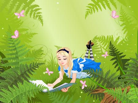 Wonderland Alice reading a book on fern lawn