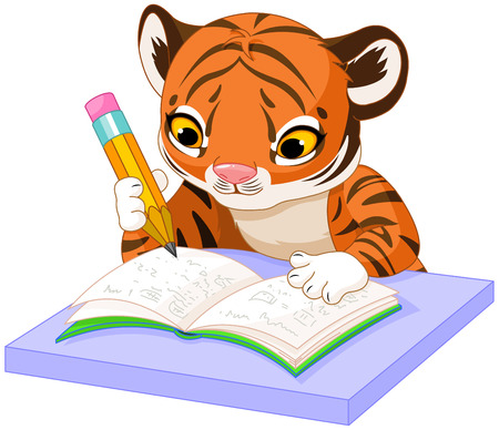 children writing: Illustration of cute tiger cub studying