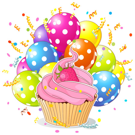 cupcake illustration: Illustration of a birthday cupcake with balloons and confetti Illustration