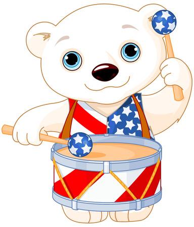 baby bear cartoon: Illustration of Polar Bear celebrating 4th of July