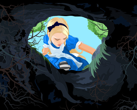 with holes: Illustration of Alice looking to the hare hole