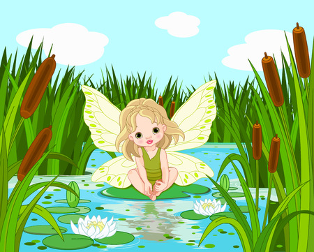 Illustration of cute fairy sitting in leaf of lily