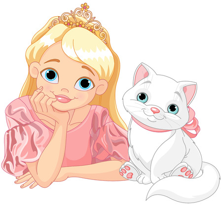 corona de princesa: Cuento de hadas de la princesa est� besando a un gato blanco