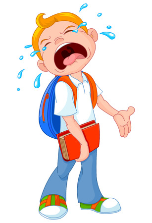 Illustration of crying boy walking to school