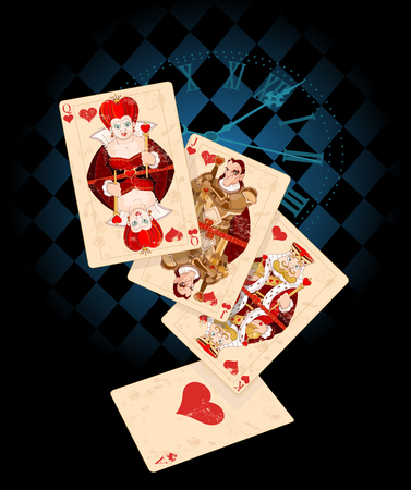 play card: Retro-background with playing card symbols