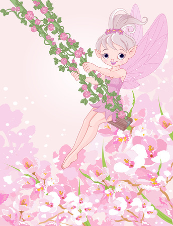 pixy: Illustration of Pixy fairy on a swing
