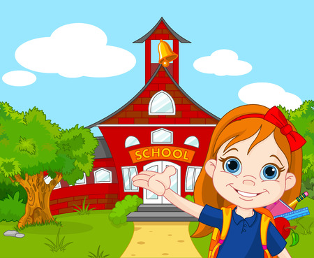 goes: Illustration of schoolgirl goes to school
