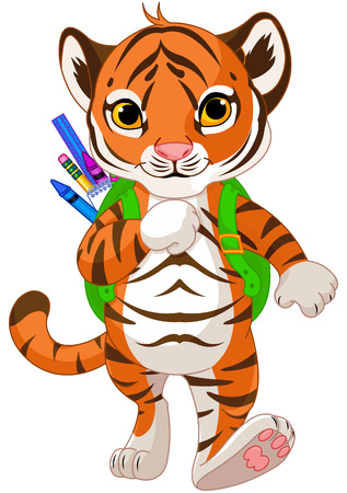 Illustration of little tiger goes to school Vectores