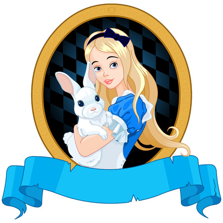 wonderland: Illustration of Alice holds white rabbit