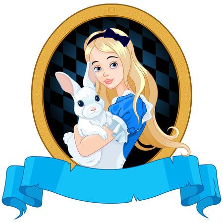 Ilustração de Alice detém coelho branco