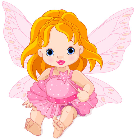 angel wing: Illustration of cute baby fairy
